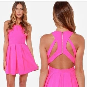 Lulu's Exclusive Test Drive Neon Pink Dress XS